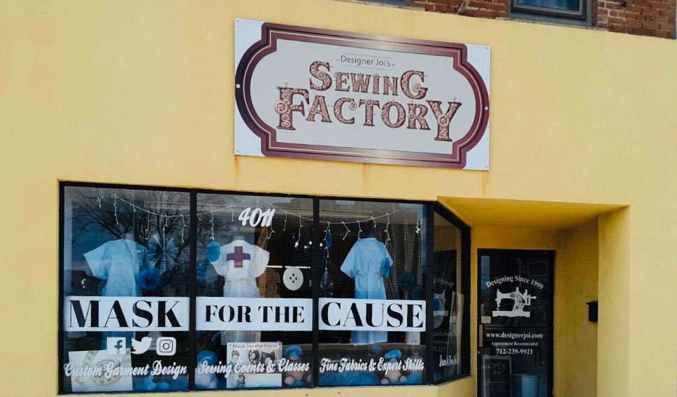 Sewing Factory Mask for the Cause Logo